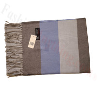 Cashmere Feel Pattern Scarf Brown/Blue