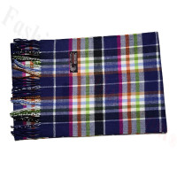Cashmere Feel Pattern Scarf Navy Blue