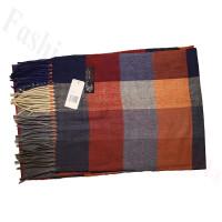 Cashmere Feel Pattern Scarf Orange/Grey