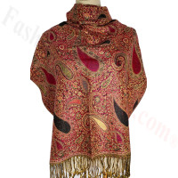 Classic Thicker Paisley Shawl Pink/Gold