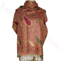 Classic Thicker Paisley Shawl Olive Green