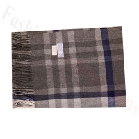 Cashmere Feel Pattern Scarf Grey/Blue