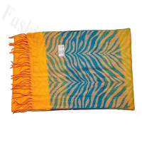 Cashmere Feel Design Scarf Blue/Orange