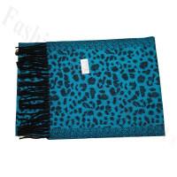 Cashmere Feel Leopard Scarf Blue