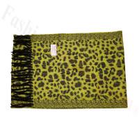 Cashmere Feel Leopard Scarf Lime/Black
