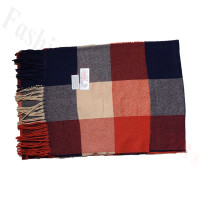 Cashmere Feel Pattern Scarf Red/Navy