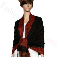 Border Patterned Pashmina Label Black Red