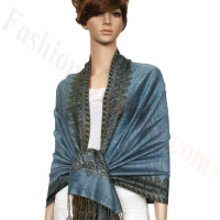 Border Patterned Pashmina label Light Steel Blue