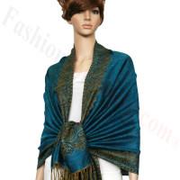 Border Patterned Pashmina label Turquoise