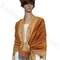 Border Patterned Pashmina Sandy Brown