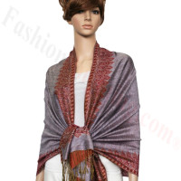 Border Patterned Pashmina label Light Purple