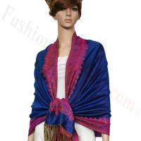 Border Patterned Pashmina Label Blue