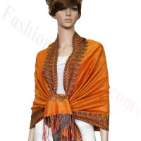 Border Patterned Pashmina Orange