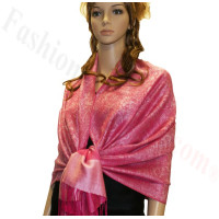 Paisley Jacquard Pashmina Hot Pink w/ Light Pink