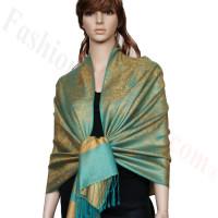 Paisley Jacquard Pashmina Gold w/ Green