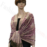 Jacquard Paisley Pashmina 2-Ply Pale Violet Red