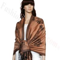 Rose & Leaf Pashmina Golden Brown