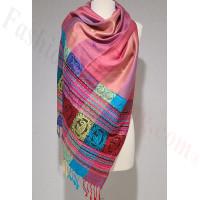 Stripe Paisley Shawl Light Pink