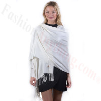 Cream Solid Pashmina Label Scarf