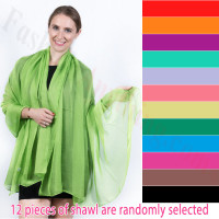 Light Solid Chiffon Shawl 1 DZ, Asst. Color