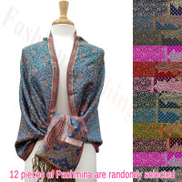 Metallic Mini Paisley Floral Pashmina 1 DZ, Asst. Color