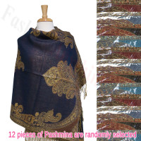 Gaint Paisley Metallic Pashmina 1 DZ, Asst. Color