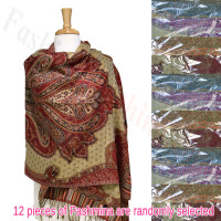 Abstract Paisley Metallic Pashmina 1 DZ, Asst. Color