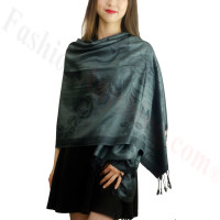 Rose & Leaf Pashmina Charcoal