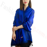 Rose & Leaf Pashmina Royal Blue