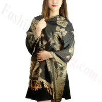 Rose & Leaf Pashmina Tan / Black