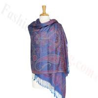 Gorgeous Paisley Flower Pashmina label royal blue