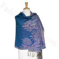 Phoenix Tail Thicker Label Pashmina Blue