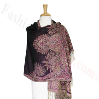 Phoenix Tail Thicker Label Pashmina Black/Pink
