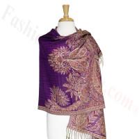 Phoenix Tail Thicker Label Pashmina Purple
