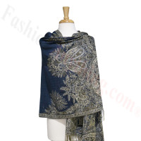 Phoenix Tail Thicker Label Pashmina Navy