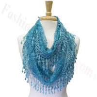 Infinity Lace Scarf Teal Blue