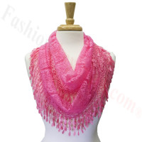 Infinity Lace Scarf Hot Pink