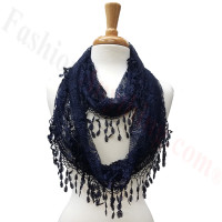 Infinity Lace Scarf Navy Blue