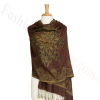 Gorgeous border Pashmina Label Brown