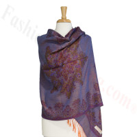 Gorgeous border Pashmina Label Purple