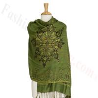 Gorgeous border Pashmina Label Green