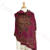 Gorgeous border Pashmina Label Fuschia
