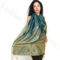 Big Paisley Thicker Pashmina Turquoise/Gold Dozen (12 Pcs)