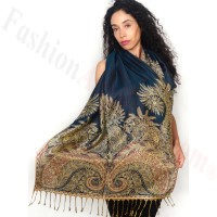 Big Paisley Thicker Pashmina Teal