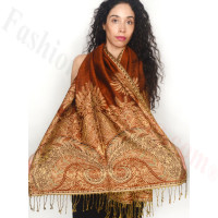 Big Paisley Thicker Pashmina Rust Brown