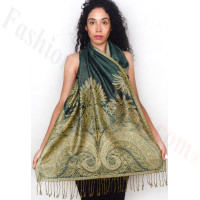 Big Paisley Thicker Pashmina Dark Green