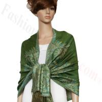 Big Paisley Thicker Pashmina Green
