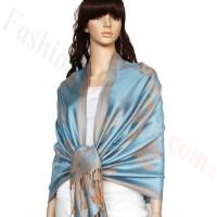 Rose & Leaf Pashmina Blue/Tan