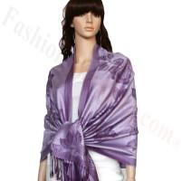 Rose & Leaf Pashmina Light Purple