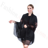 Light Solid Chiffon Shawl Black